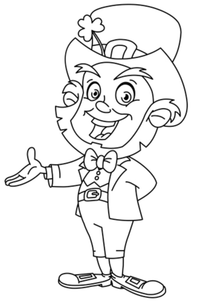 Outlined leprechaun presenting with his hand. Coloring page